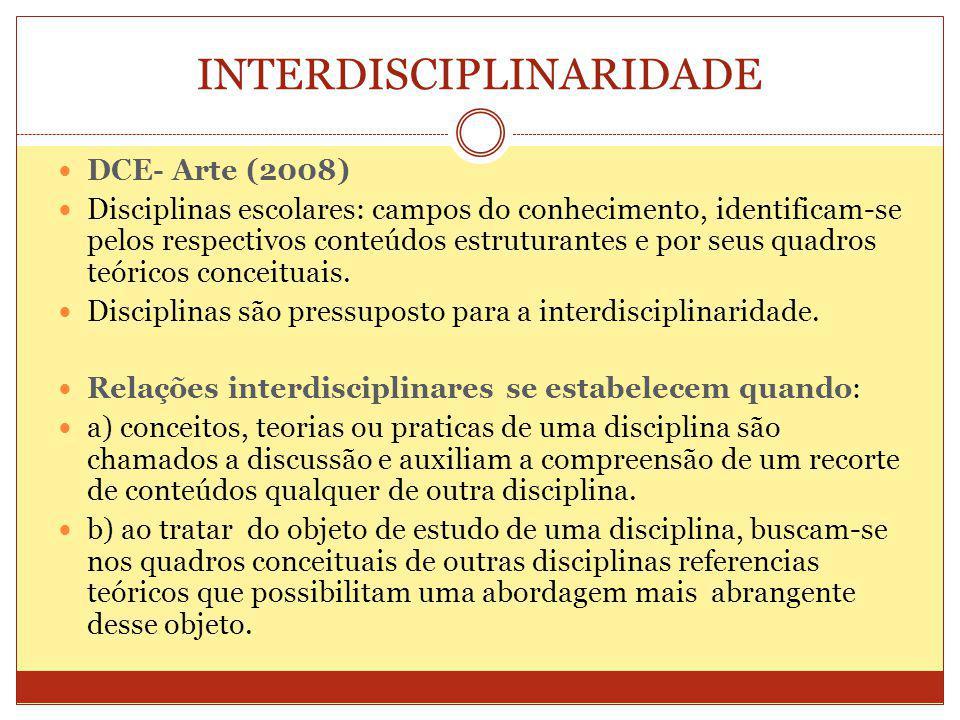 INTERDISCIPLINARIDADE DCE- Arte (2008) Disciplinas escolares: campos do conhecimento, identificam-se pelos respectivos conteúdos estruturantes e por seus quadros teóricos conceituais.