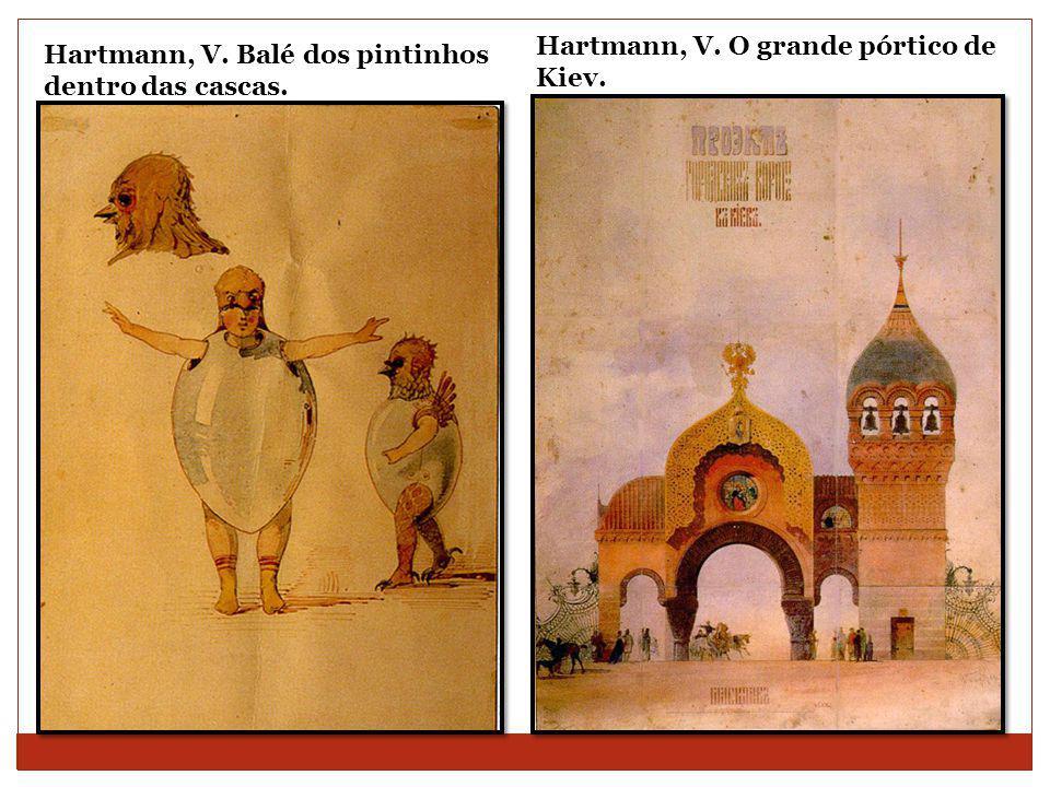 Hartmann, V. Balé dos pintinhos dentro das cascas. Hartmann, V. O grande pórtico de Kiev.