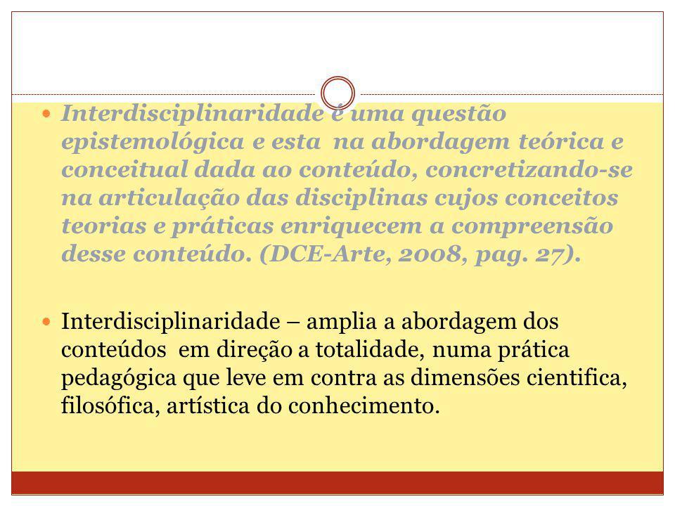 INTERDISCIPLINARIDADE Proposta: Articular Artes Visuais e Música, de modo que tal articulação resulte em uma prática criativa.