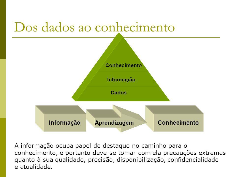 Dos dados ao conhecimento Dados Informação Conhecimento InformaçãoConhecimento Aprendizagem A informação ocupa papel de destaque no caminho para o con