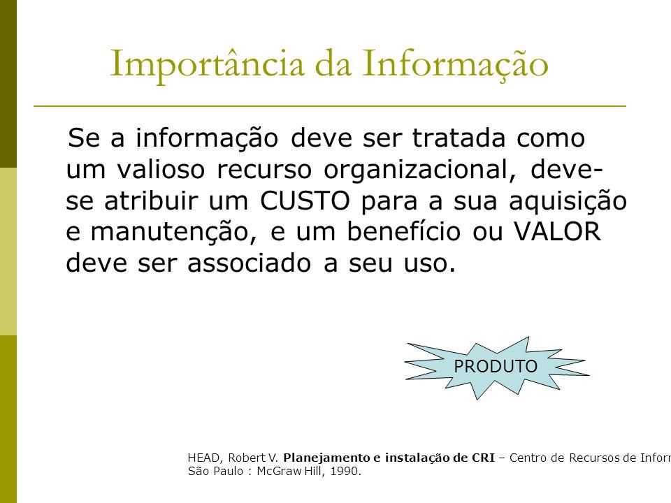 Importância da Informação Se a informação deve ser tratada como um valioso recurso organizacional, deve- se atribuir um CUSTO para a sua aquisição e m