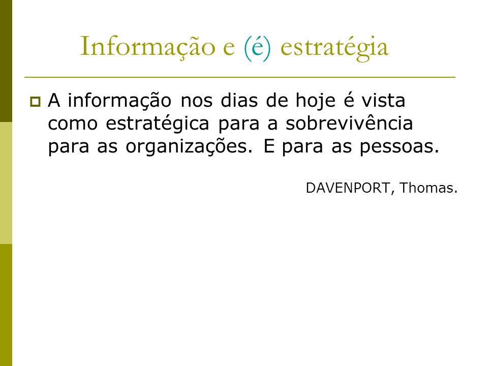 Informação e (é) estratégia A informação nos dias de hoje é vista como estratégica para a sobrevivência para as organizações. E para as pessoas. DAVEN