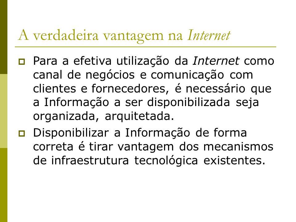 A verdadeira vantagem na Internet Para a efetiva utilização da Internet como canal de negócios e comunicação com clientes e fornecedores, é necessário