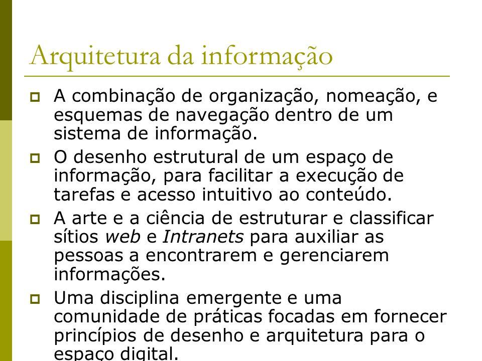 Arquitetura da informação A combinação de organização, nomeação, e esquemas de navegação dentro de um sistema de informação. O desenho estrutural de u