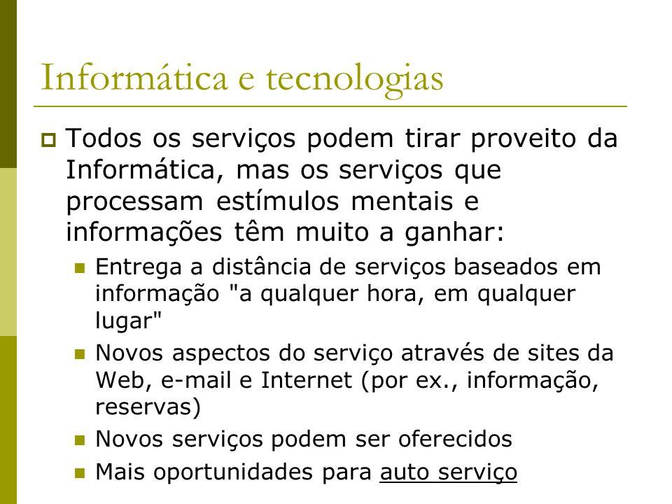 Informática e tecnologias Todos os serviços podem tirar proveito da Informática, mas os serviços que processam estímulos mentais e informações têm mui