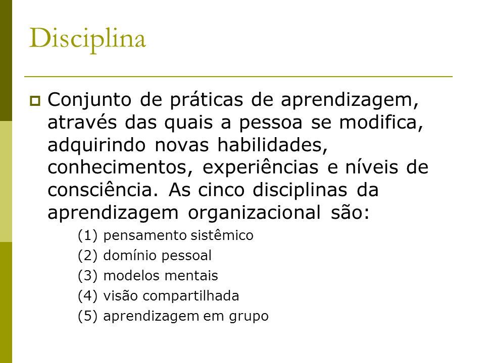 Disciplina Conjunto de práticas de aprendizagem, através das quais a pessoa se modifica, adquirindo novas habilidades, conhecimentos, experiências e n