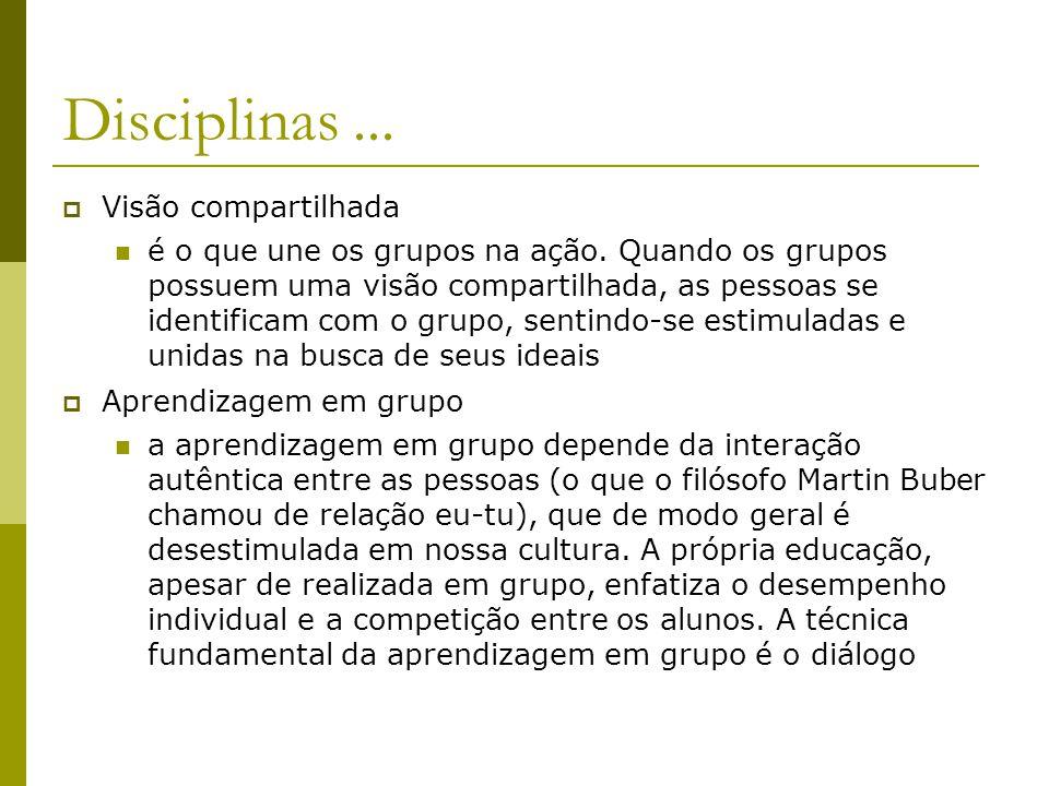 Disciplinas... Visão compartilhada é o que une os grupos na ação. Quando os grupos possuem uma visão compartilhada, as pessoas se identificam com o gr