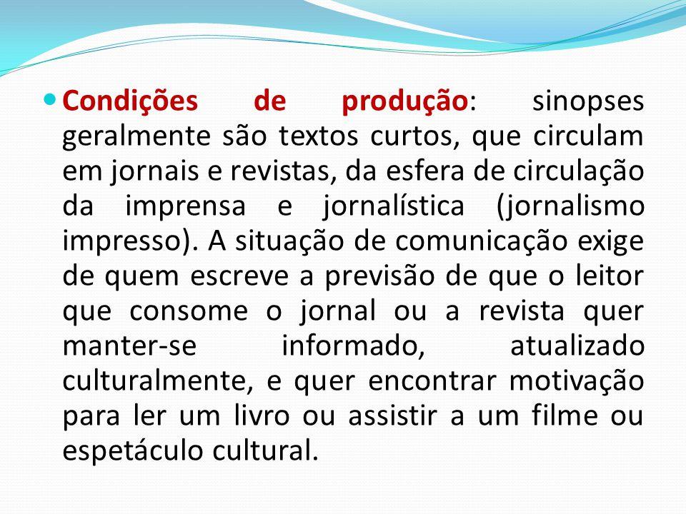 Condições de produção: sinopses geralmente são textos curtos, que circulam em jornais e revistas, da esfera de circulação da imprensa e jornalística (