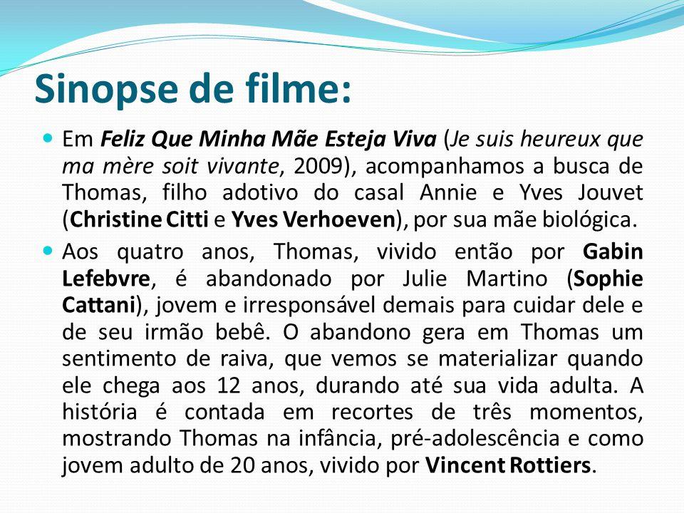 Sinopse de filme: Em Feliz Que Minha Mãe Esteja Viva (Je suis heureux que ma mère soit vivante, 2009), acompanhamos a busca de Thomas, filho adotivo d