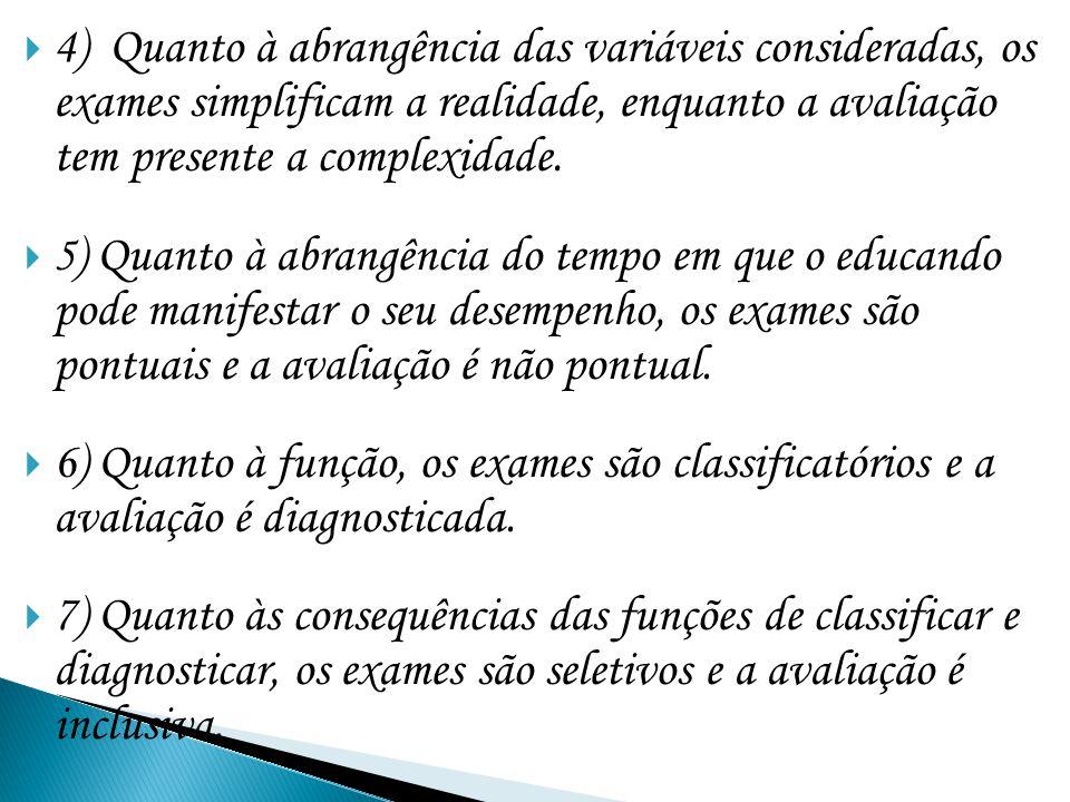 4) Quanto à abrangência das variáveis consideradas, os exames simplificam a realidade, enquanto a avaliação tem presente a complexidade. 5 ) Quanto à