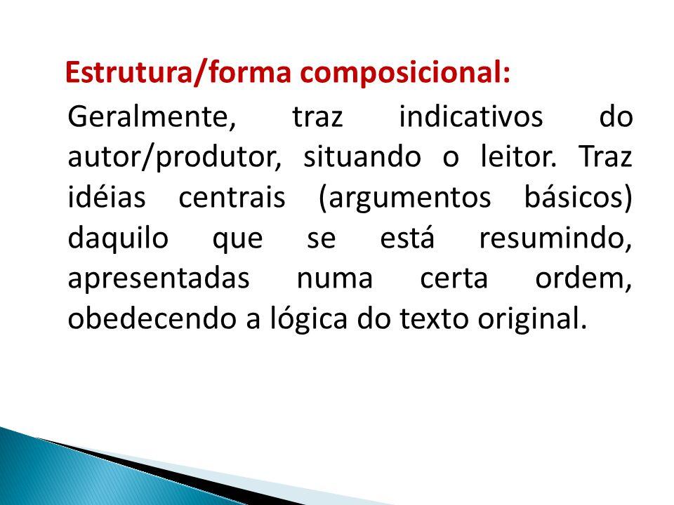 Estrutura/forma composicional: Geralmente, traz indicativos do autor/produtor, situando o leitor. Traz idéias centrais (argumentos básicos) daquilo qu