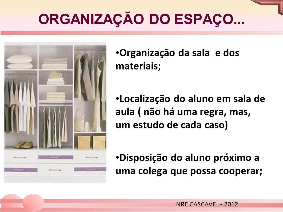 ORGANIZAÇÃO DO ESPAÇO... Organização da sala e dos materiais; Localização do aluno em sala de aula ( não há uma regra, mas, um estudo de cada caso) Di