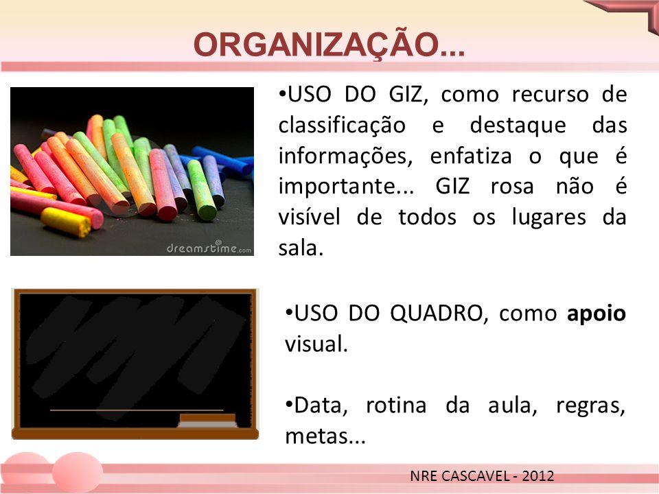 USO DO GIZ, como recurso de classificação e destaque das informações, enfatiza o que é importante... GIZ rosa não é visível de todos os lugares da sal