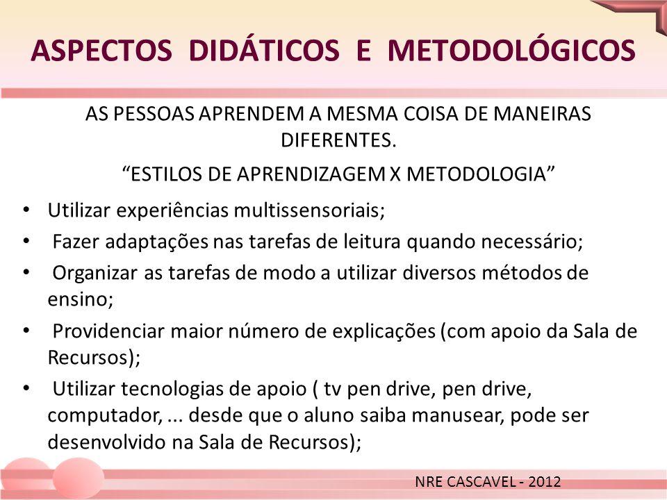 ASPECTOS DIDÁTICOS E METODOLÓGICOS AS PESSOAS APRENDEM A MESMA COISA DE MANEIRAS DIFERENTES. ESTILOS DE APRENDIZAGEM X METODOLOGIA Utilizar experiênci