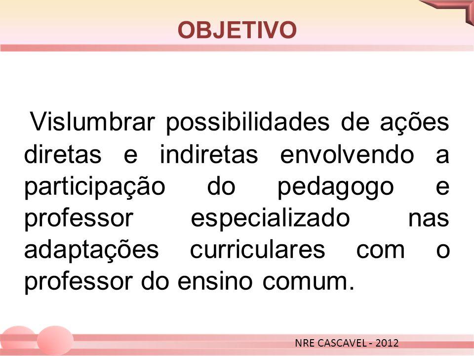 OBJETIVO Vislumbrar possibilidades de ações diretas e indiretas envolvendo a participação do pedagogo e professor especializado nas adaptações curricu