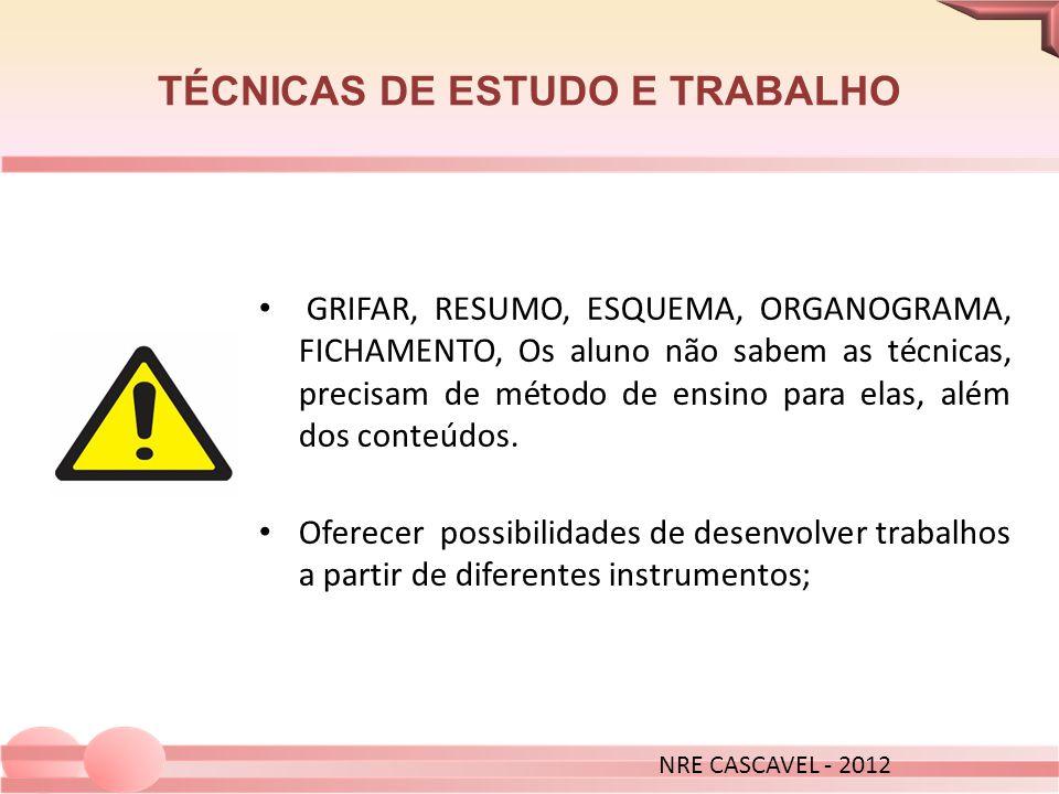 TÉCNICAS DE ESTUDO E TRABALHO NRE CASCAVEL - 2012 GRIFAR, RESUMO, ESQUEMA, ORGANOGRAMA, FICHAMENTO, Os aluno não sabem as técnicas, precisam de método