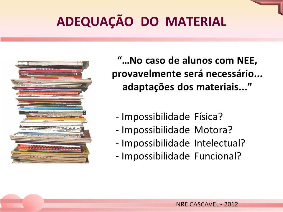 …No caso de alunos com NEE, provavelmente será necessário... adaptações dos materiais... ADEQUAÇÃO DO MATERIAL NRE CASCAVEL - 2012 - Impossibilidade F