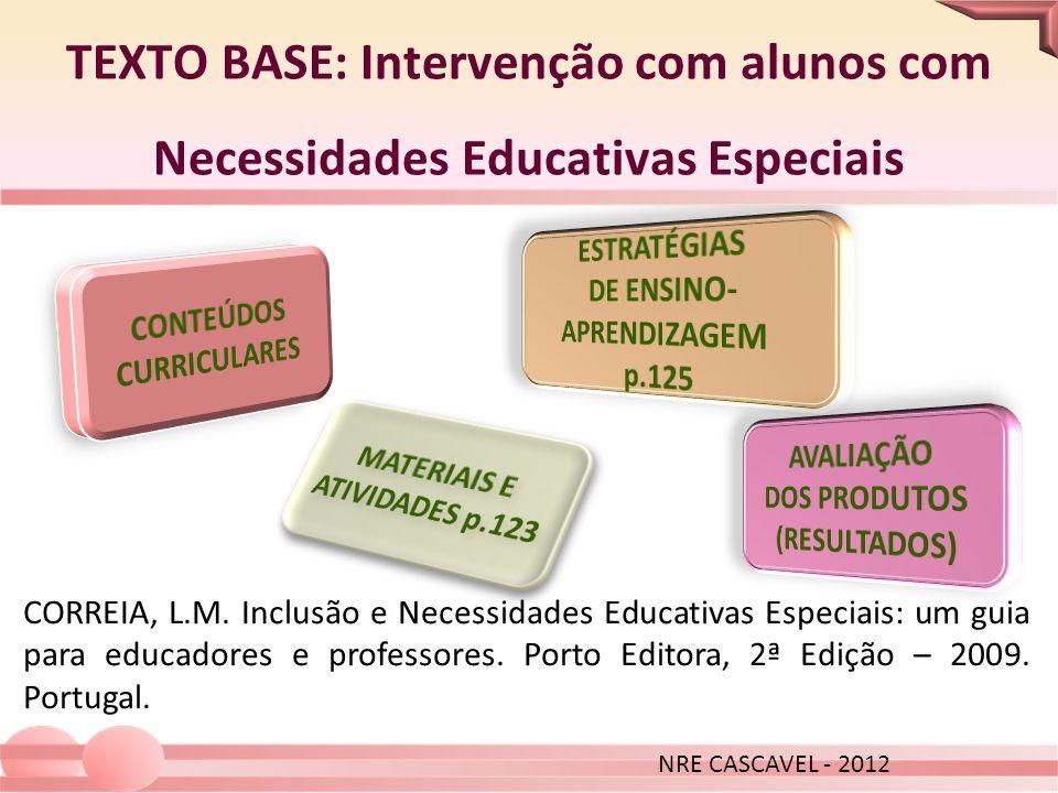 TEXTO BASE: Intervenção com alunos com Necessidades Educativas Especiais CORREIA, L.M. Inclusão e Necessidades Educativas Especiais: um guia para educ