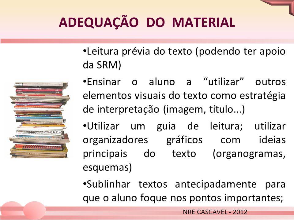 ADEQUAÇÃO DO MATERIAL NRE CASCAVEL - 2012 Leitura prévia do texto (podendo ter apoio da SRM) Ensinar o aluno a utilizar outros elementos visuais do te