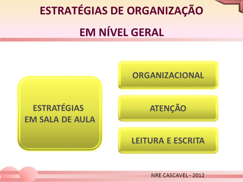 ESTRATÉGIAS DE ORGANIZAÇÃO EM NÍVEL GERAL NRE CASCAVEL - 2012 ESTRATÉGIAS EM SALA DE AULA ATENÇÃO LEITURA E ESCRITA ORGANIZACIONAL NRE CASCAVEL - 2012