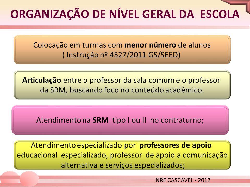 ORGANIZAÇÃO DE NÍVEL GERAL DA ESCOLA NRE CASCAVEL - 2012 Colocação em turmas com menor número de alunos ( Instrução nº 4527/2011 GS/SEED) Articulação