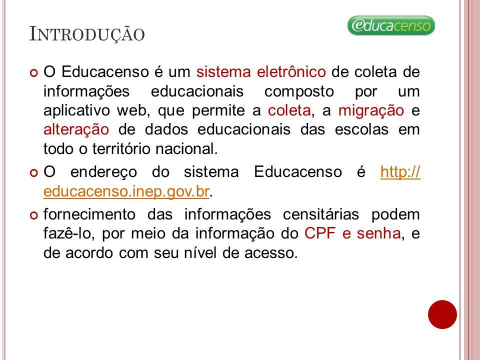 A CESSANDO O S ISTEMA Requisitos Mínimos para acesso ao sistema Educacenso Navegador da internet: Internet Explorer versão 7.0 ou superior.
