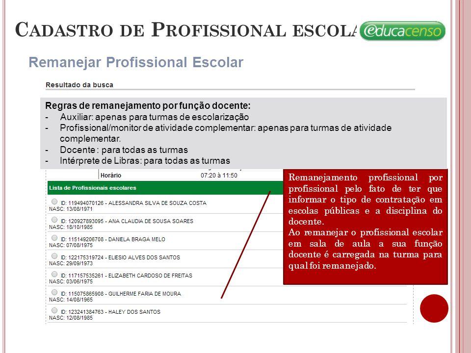 C ADASTRO DE P ROFISSIONAL ESCOLAR Pesquisar Profissional Escolar