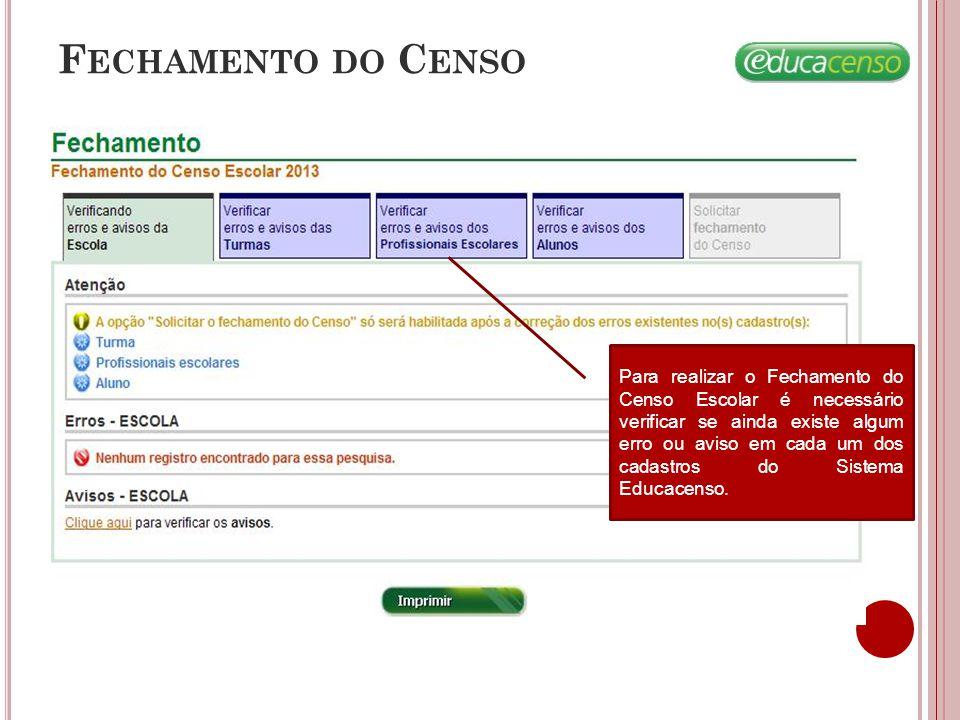 F ECHAMENTO DO C ENSO Após verificar todos os cadastros o sistema habilita a solicitação do fechamento do Censo.