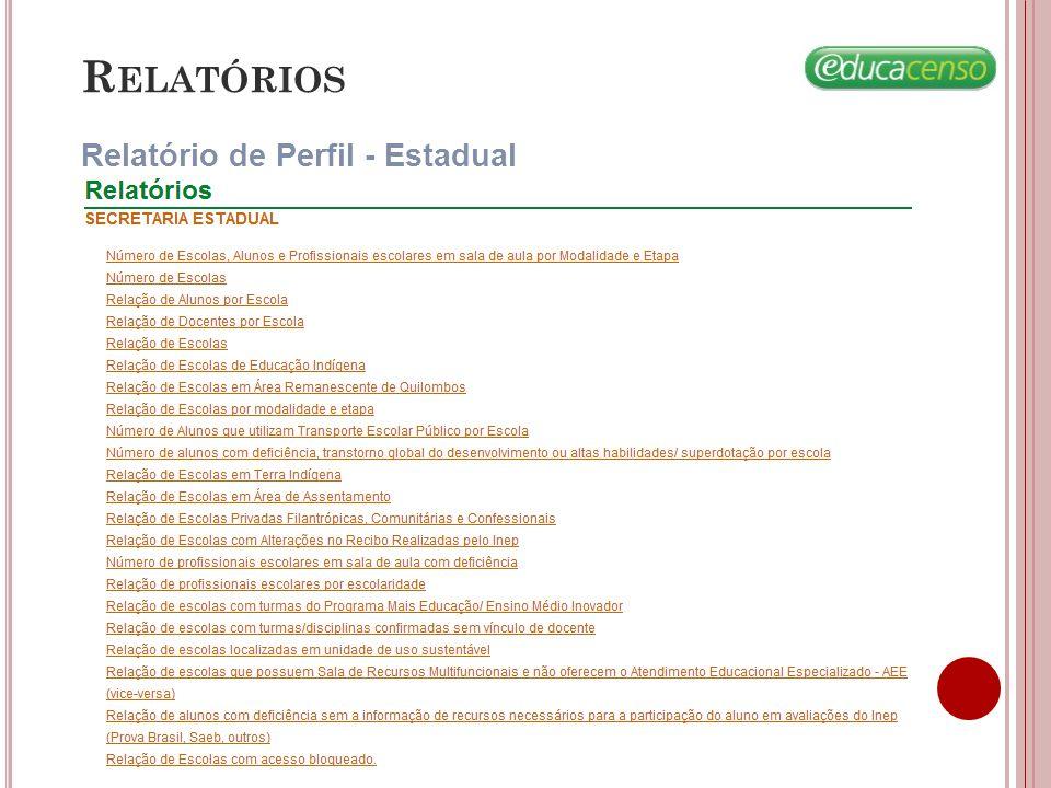 R ELATÓRIOS Relatório de Perfil - Estadual