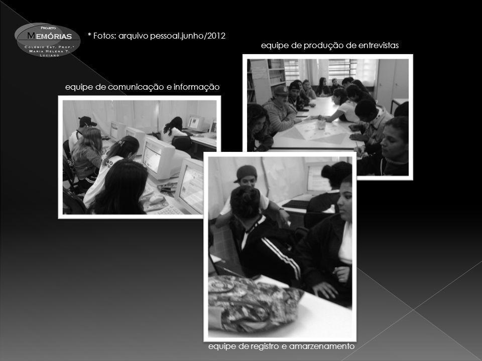 equipe de comunicação e informação equipe de produção de entrevistas equipe de registro e amarzenamento * Fotos: arquivo pessoal.junho/2012