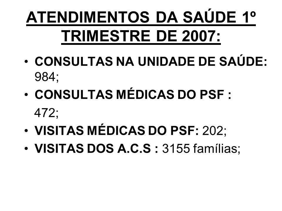 ATENDIMENTOS DA SAÚDE 1º TRIMESTRE DE 2007: CONSULTAS NA UNIDADE DE SAÚDE: 984; CONSULTAS MÉDICAS DO PSF : 472; VISITAS MÉDICAS DO PSF: 202; VISITAS DOS A.C.S : 3155 famílias;