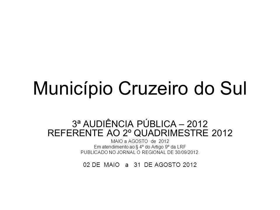 Município Cruzeiro do Sul 3ª AUDIÊNCIA PÚBLICA – 2012 REFERENTE AO 2º QUADRIMESTRE 2012 MAIO a AGOSTO de 2012 Em atendimento ao § 4º do Artigo 9º da LRF PUBLICADO NO JORNAL O REGIONAL DE 30/09/2012.