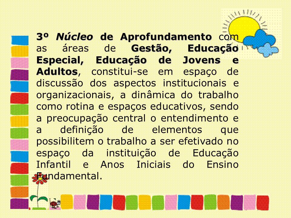 3º Núcleo de Aprofundamento Gestão, Educação Especial, Educação de Jovens e Adultos 3º Núcleo de Aprofundamento com as áreas de Gestão, Educação Espec