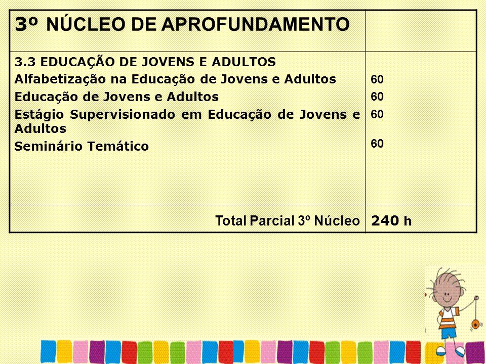 3º NÚCLEO DE APROFUNDAMENTO 3.3 EDUCAÇÃO DE JOVENS E ADULTOS Alfabetização na Educação de Jovens e Adultos Educação de Jovens e Adultos Estágio Superv