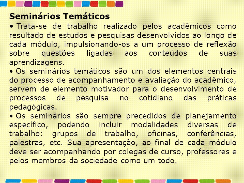 Seminários Temáticos Trata-se de trabalho realizado pelos acadêmicos como resultado de estudos e pesquisas desenvolvidos ao longo de cada módulo, impu