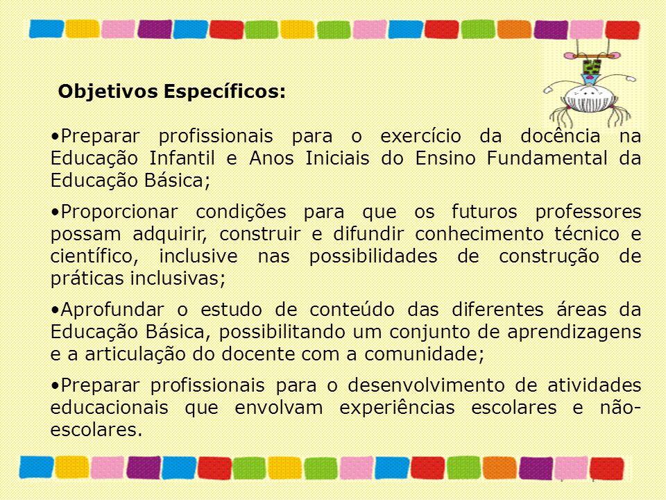 Objetivos Específicos: Preparar profissionais para o exercício da docência na Educação Infantil e Anos Iniciais do Ensino Fundamental da Educação Bási
