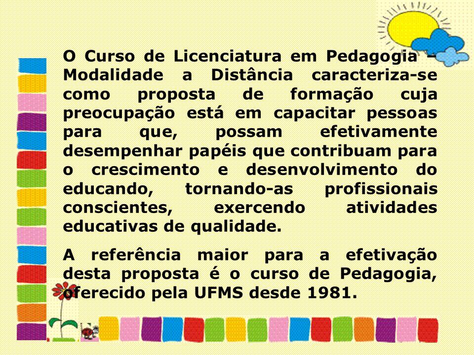O Curso de Licenciatura em Pedagogia – Modalidade a Distância caracteriza-se como proposta de formação cuja preocupação está em capacitar pessoas para