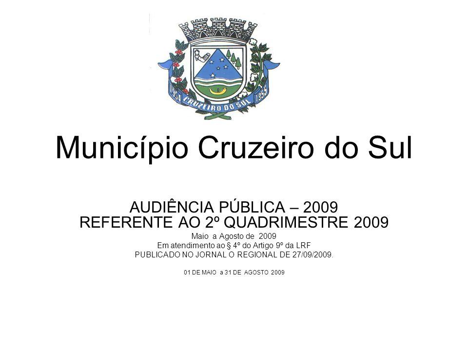 Município Cruzeiro do Sul AUDIÊNCIA PÚBLICA – 2009 REFERENTE AO 2º QUADRIMESTRE 2009 Maio a Agosto de 2009 Em atendimento ao § 4º do Artigo 9º da LRF PUBLICADO NO JORNAL O REGIONAL DE 27/09/2009.