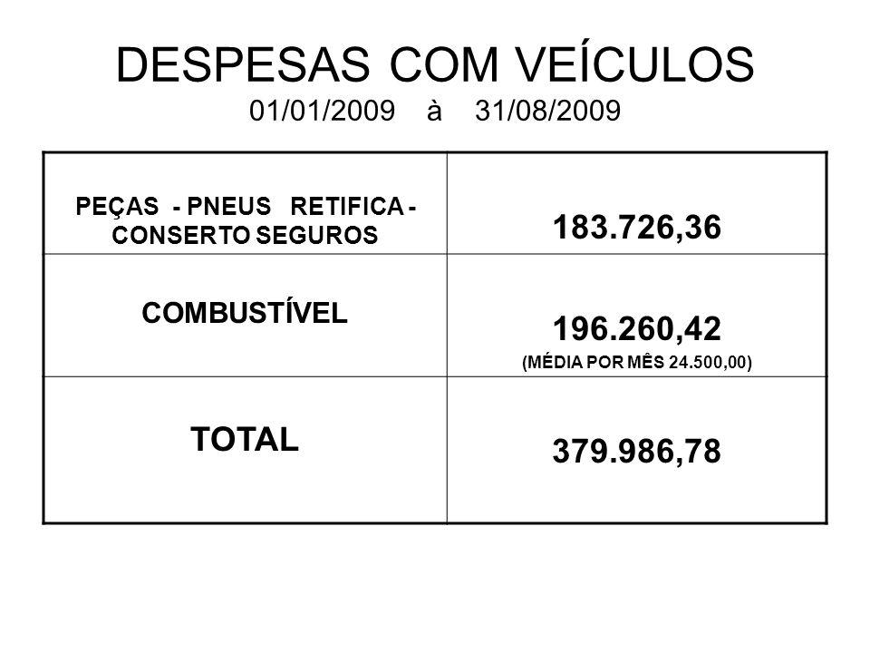 DESPESAS COM VEÍCULOS 01/01/2009 à 31/08/2009 PEÇAS - PNEUS RETIFICA - CONSERTO SEGUROS 183.726,36 COMBUSTÍVEL 196.260,42 (MÉDIA POR MÊS 24.500,00) TO