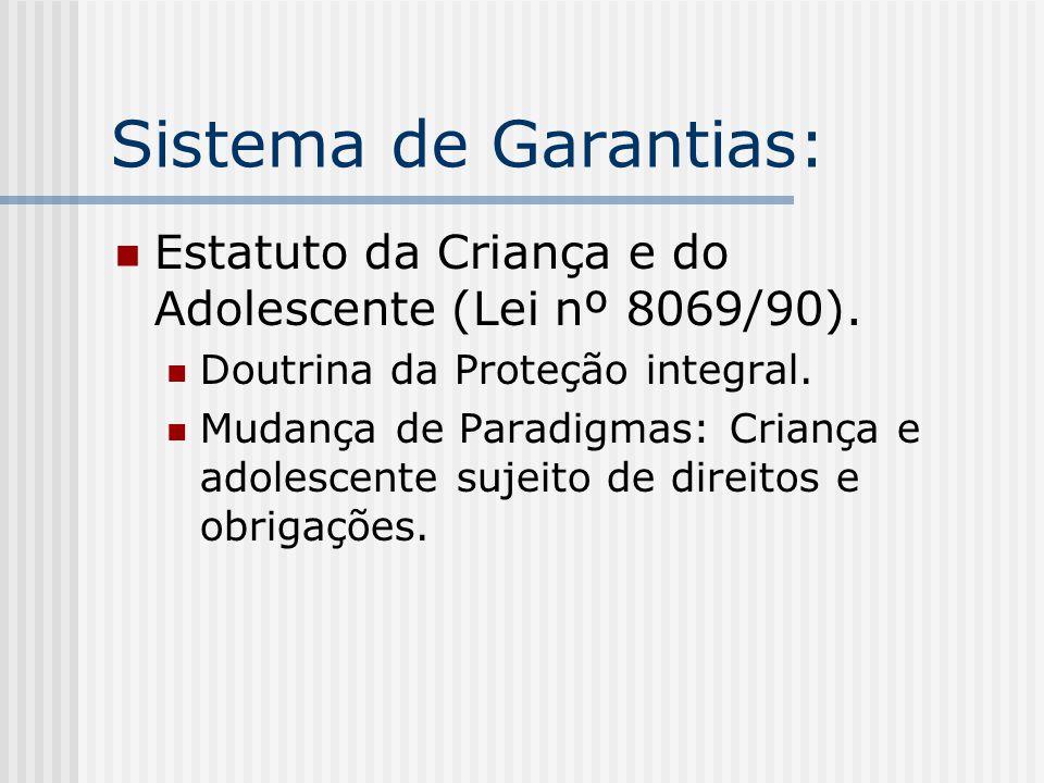Sistema de Garantias: Estatuto da Criança e do Adolescente (Lei nº 8069/90).