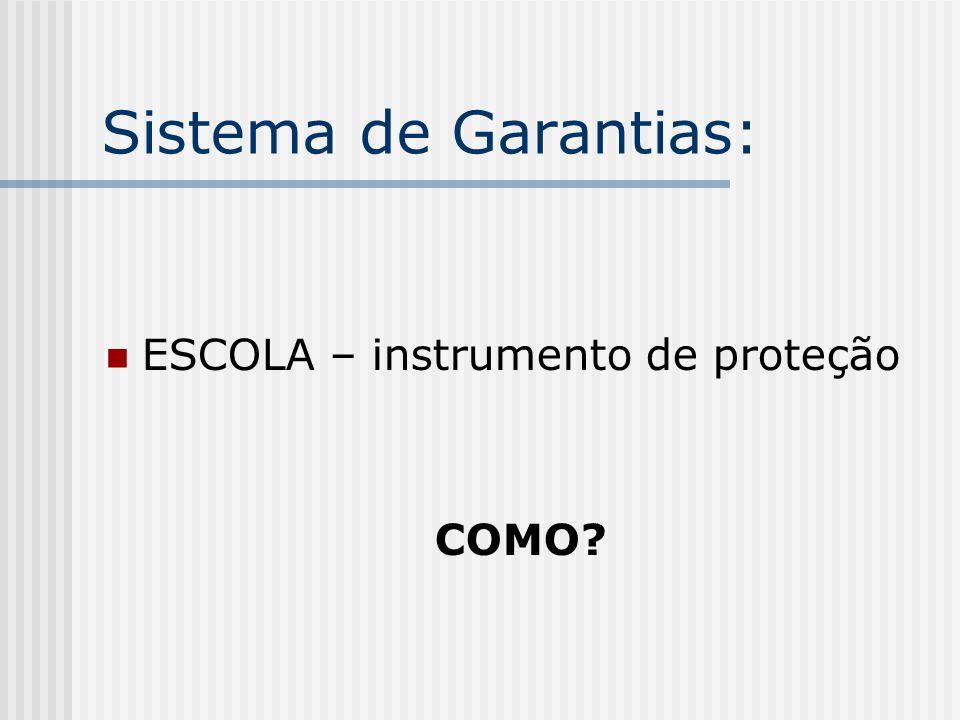 Sistema de Garantias: ESCOLA – instrumento de proteção COMO?