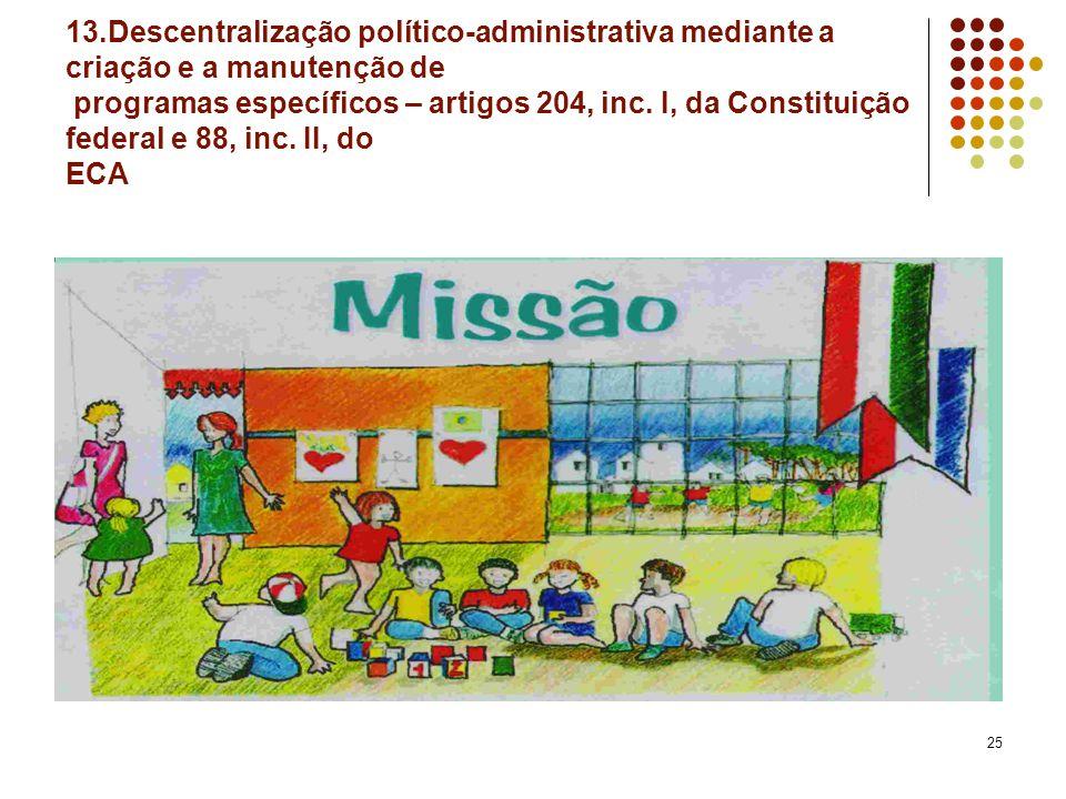 25 13.Descentralização político-administrativa mediante a criação e a manutenção de programas específicos – artigos 204, inc. I, da Constituição feder