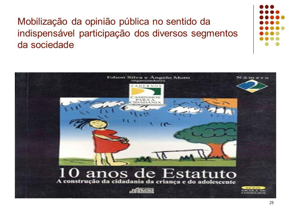 28 Mobilização da opinião pública no sentido da indispensável participação dos diversos segmentos da sociedade