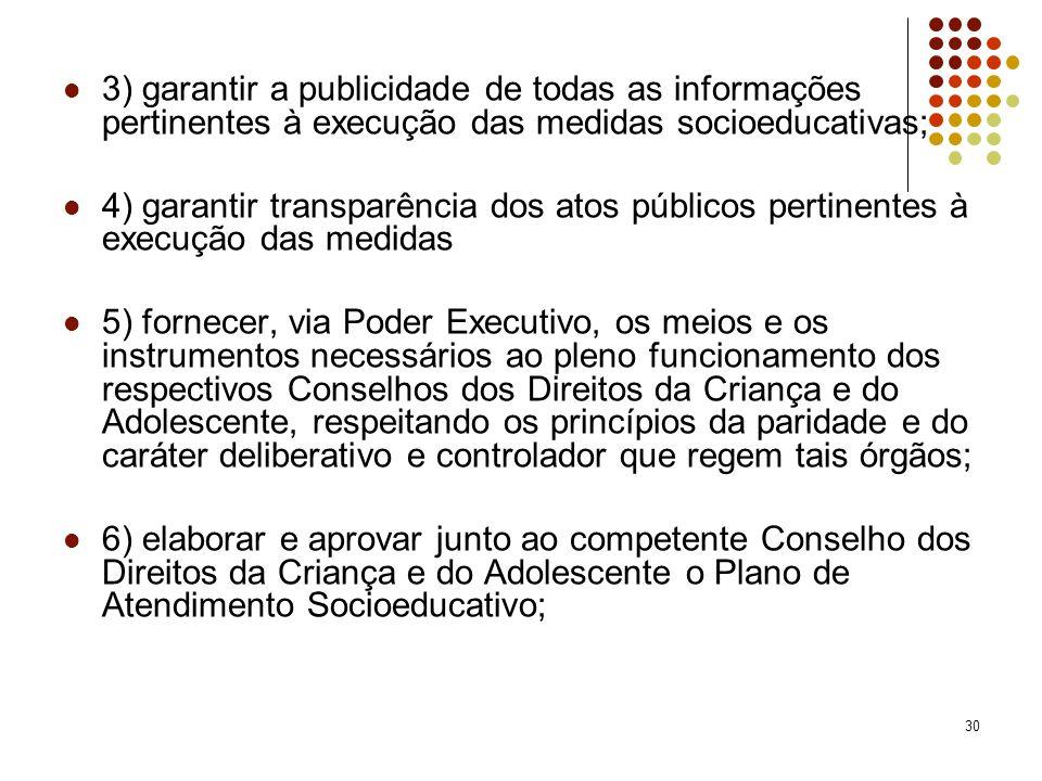 30 3) garantir a publicidade de todas as informações pertinentes à execução das medidas socioeducativas; 4) garantir transparência dos atos públicos p