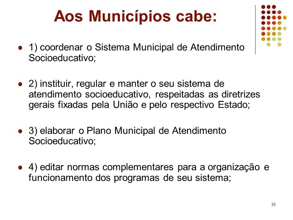 35 Aos Municípios cabe: 1) coordenar o Sistema Municipal de Atendimento Socioeducativo; 2) instituir, regular e manter o seu sistema de atendimento so