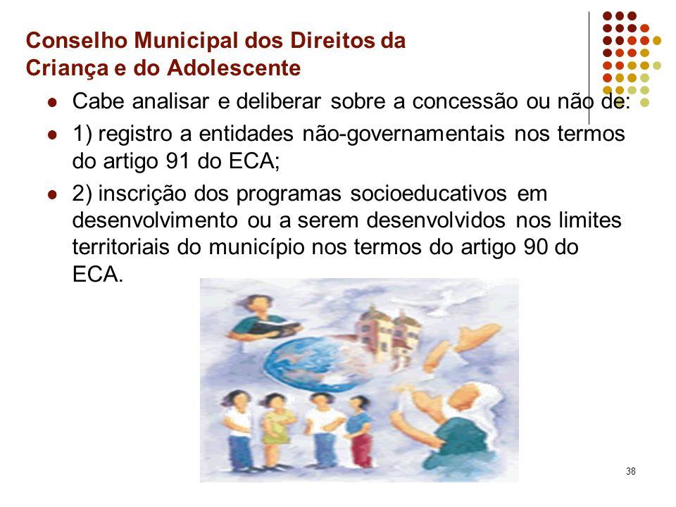 38 Conselho Municipal dos Direitos da Criança e do Adolescente Cabe analisar e deliberar sobre a concessão ou não de: 1) registro a entidades não-gove