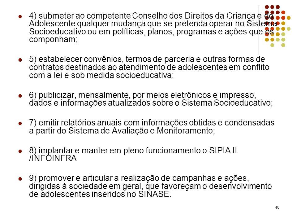 40 4) submeter ao competente Conselho dos Direitos da Criança e do Adolescente qualquer mudança que se pretenda operar no Sistema Socioeducativo ou em