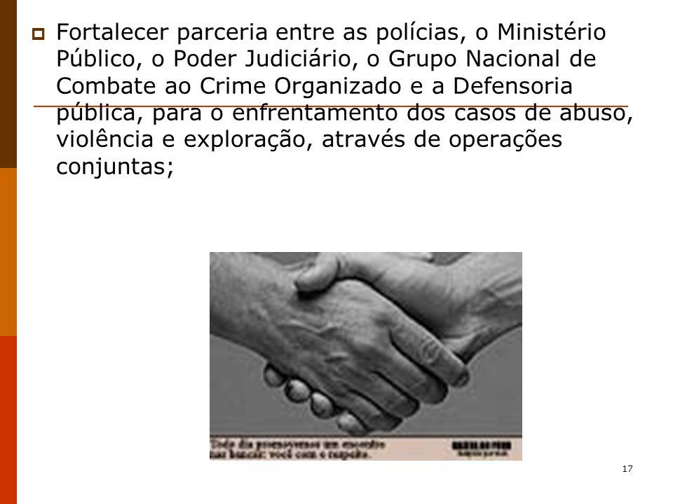17 Fortalecer parceria entre as polícias, o Ministério Público, o Poder Judiciário, o Grupo Nacional de Combate ao Crime Organizado e a Defensoria pública, para o enfrentamento dos casos de abuso, violência e exploração, através de operações conjuntas;
