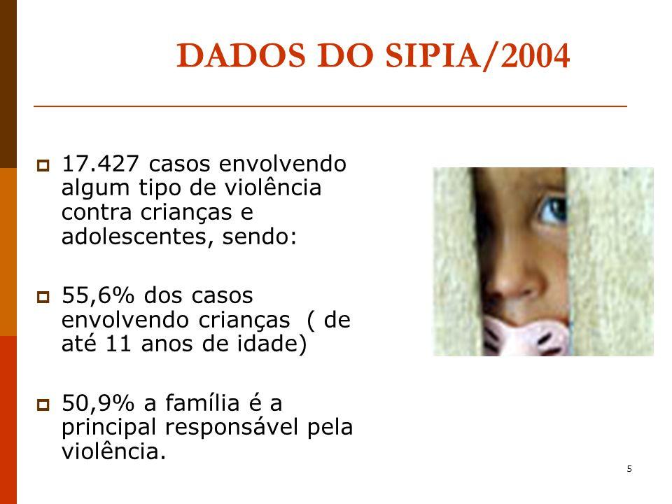 5 DADOS DO SIPIA/2004 17.427 casos envolvendo algum tipo de violência contra crianças e adolescentes, sendo: 55,6% dos casos envolvendo crianças ( de até 11 anos de idade) 50,9% a família é a principal responsável pela violência.