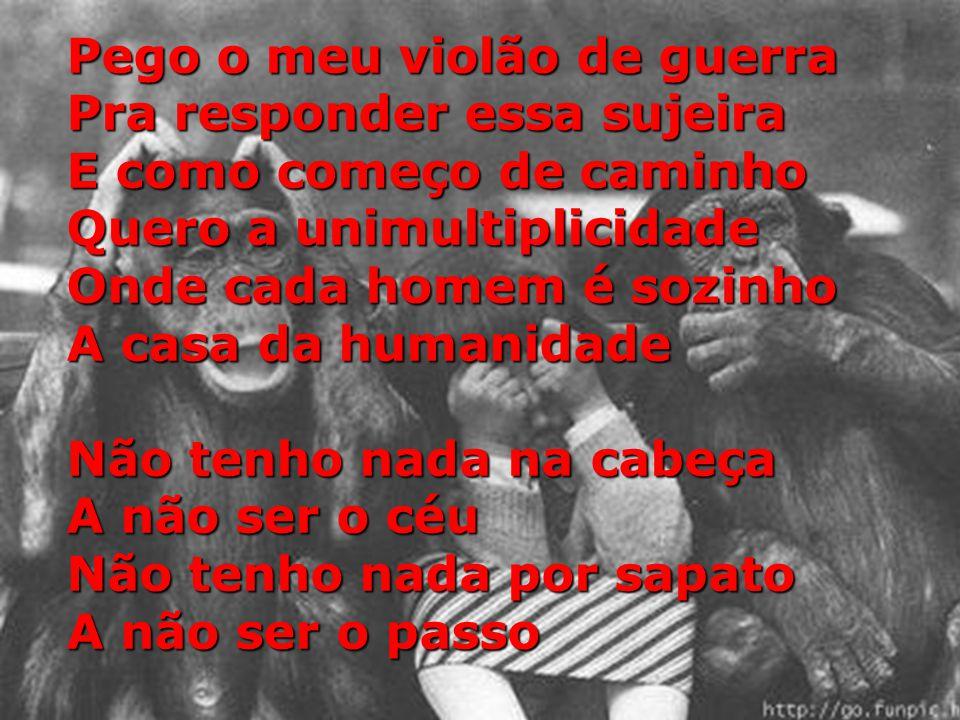 Pego o meu violão de guerra Pra responder essa sujeira E como começo de caminho Quero a unimultiplicidade Onde cada homem é sozinho A casa da humanidade Não tenho nada na cabeça A não ser o céu Não tenho nada por sapato A não ser o passo